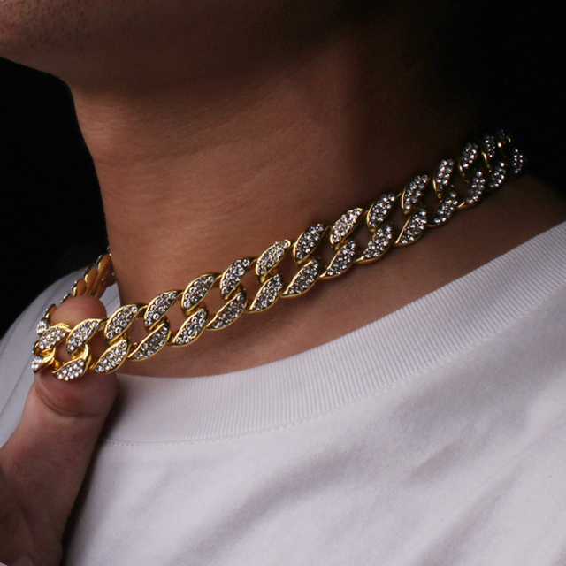 Iced Out Cuban Rhinestone Thick Necklace 2