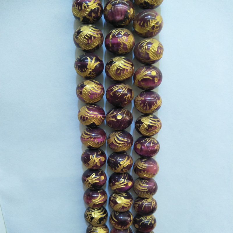 16mm Real Natural Mei Red Tiger Eye Stone Beads Round Handmade Carving Dragon Gem Stone Beads