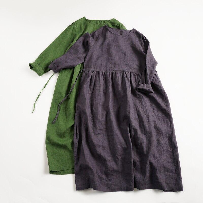 Printemps Automne Femmes Lâche grande taille style japonais décontracté Confortable Lavé à L'eau Robes De Lin