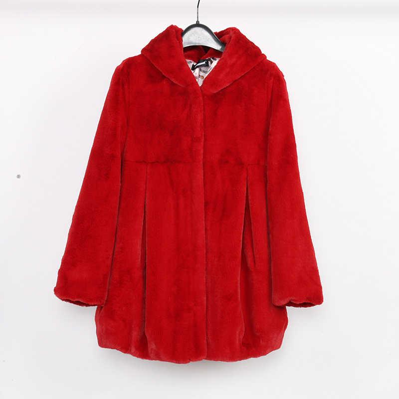 Nerazzurri пальто из искусственного меха с капюшоном Высокая талия мода тонкий черный красный розовый искусственный мех куртка искусственный кроличий мех плюс размер 4XL 5XL 6XL