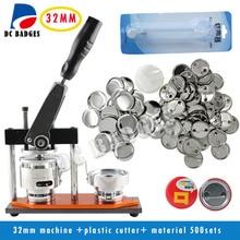 Бесплатная доставка Высокое качество 1-1/4 «32 мм Знак Button Maker машина + циркуль + 500 компл. из металла pinback поставок