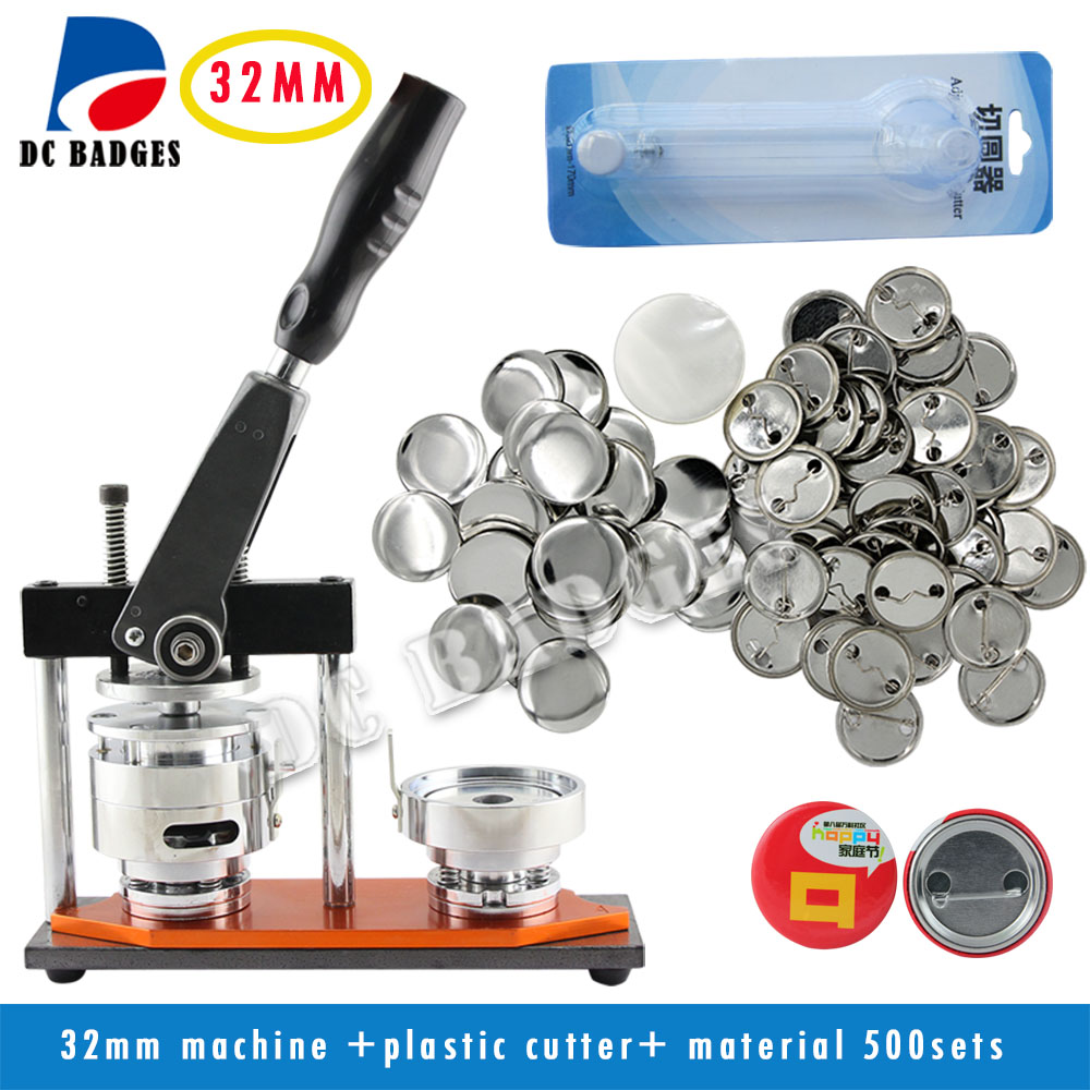 Free Shipping High Quality 1 1/4 32mm Badge Button Maker Machine +Circle Cutter+500 Sets Metal Pinback Supplies