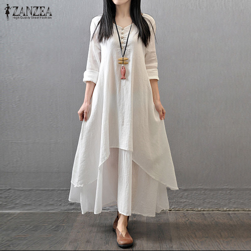 New Arrival 2015 Casual Solid Autumn Dress Fashion Women Loose Full Sleeve V Neck Cotton Linen Boho Long Maxi Dresses Vestidos