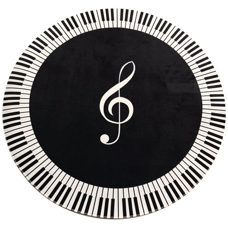 New Carpet Music Symbol Piano Key Black White Round Carpet Non-Slip Carpet Home Bedroom Mat Floor Decoration