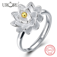 URORU Rings Authentic 925 Sterling Silver Sparkling Stackable Lotus Ring Micro Pave High Quality CZ For