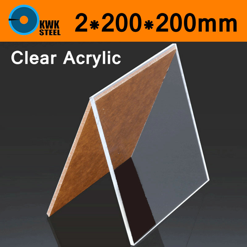 Clear Acrylic Perspex Sheet 2x200x200mm PU Plastic Panel Transparent Plate Cut Panels Shatter Resistant Clay Pottery Sculpture 7 inch black round plastic rotary plate turnplate clay pottery sculpture tool