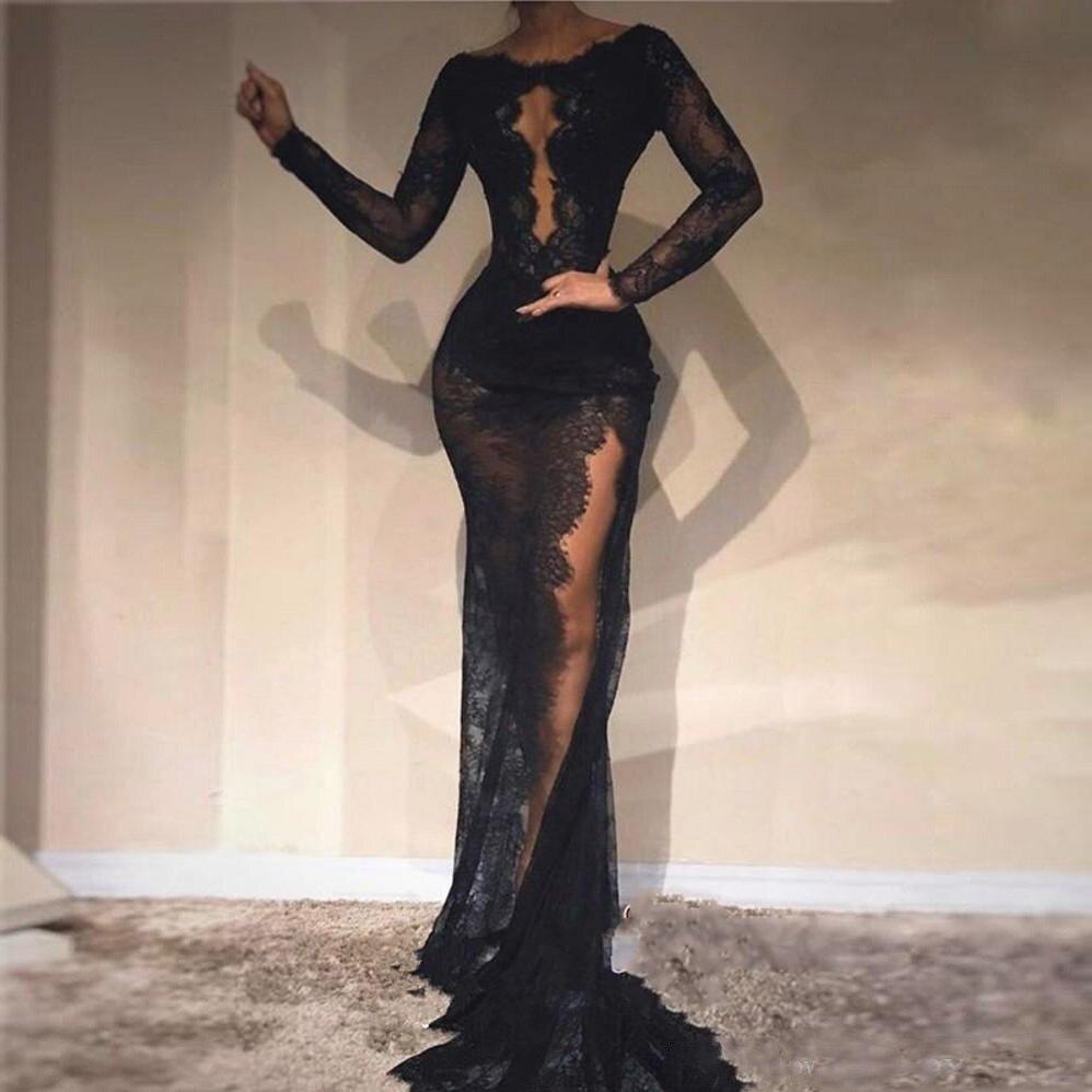 Sexy Black Lace Mermaid   Prom     Dresses   2018 Illusion Long Sleeve High Split Evening   Dress   Zipper Back Vestido de festa longo