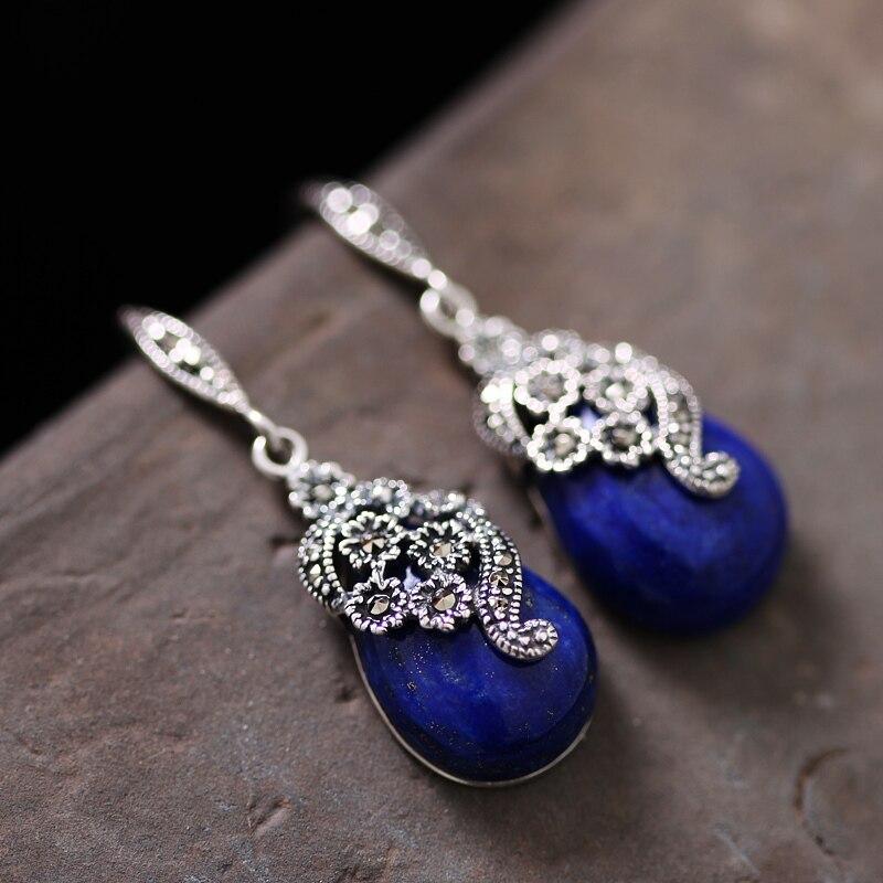 Free shipping Natrual Lapis lazuli thai silver women earrings jewelry sterling silver earrings handmade earrings