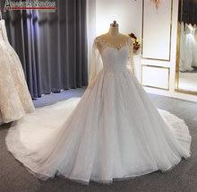 חדש בתוספת גודל חתונה שמלה עם שרוולים לבן חתונה שמלה