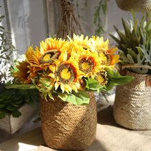Klonca Natural Silk Flower 35cm 7pcs/bouquet Sunflower Handmade Artificial Flowers  for Wedding Home Decoration
