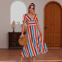 GUMPRUN Summer Dress Women Colorful Striped Sexy V Neck Big Hem Party Dresses Short Sleeve High Waist  Beach Casual Midi Dress недорого