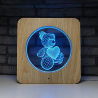 Cute Bear Heart 3D LED Night Light 7 Color Changing Wood Grain Touch Switch Usb Table Lamp Colorful Home Decor Holiday Gift