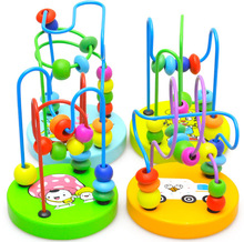 Boys Girls montessori Wooden Toys Wooden Circles Bead Wire Maze Roller Coaster Educational Wood Puzzles Kid Toy Christmas Gifts puzzles alatoys bb216 play children educational busy board toys for boys girls lace maze toywood