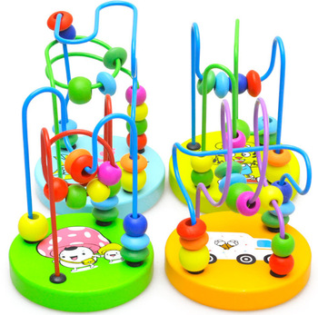 Boys Girls montessori Wooden Toys Wooden Circles Bead Wire Maze Roller Coaster Educational Wood Puzzles Kid Toy Christmas Gifts puzzles alatoys lb1032 play children educational busy board toys for boys girls lace maze