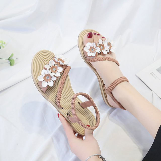 Summer Shoes Woman Sandals Elastic ankle strap Flat Sandalias Mujer 2019 Flowers Gladiator Beach Sandals Ladies Flip Flops 1