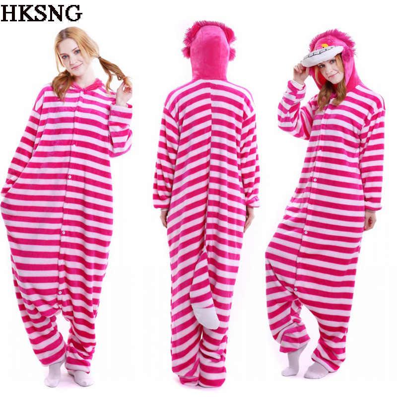 HKSNG New Adult Winter High Quality Flannel Animal Cheshire Cat Halloween Pajamas  Onesies Cosplay Costume Kigurumi 226f7c2fc87dc