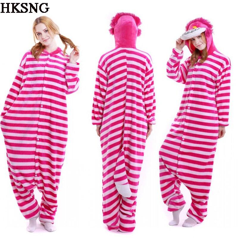 HKSNG New Adult Winter High Quality Flannel Animal Cheshire Cat Halloween Pajamas Onesies Cosplay Costume Kiguruma Pyjamas