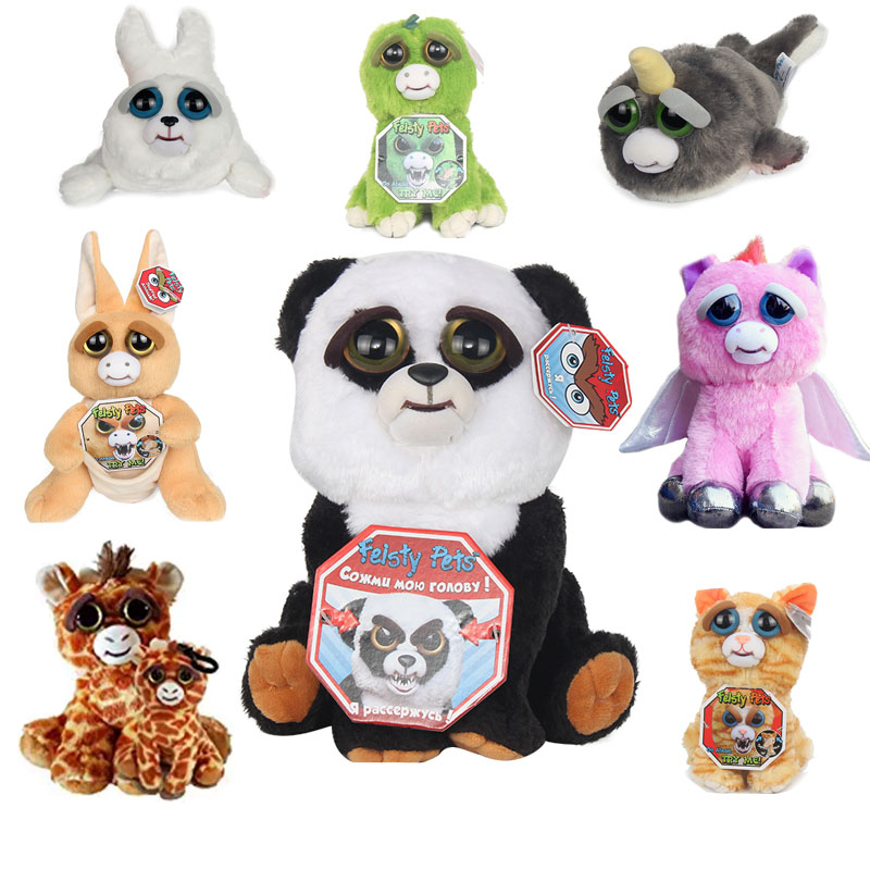 Original Feisty Pets Plush Toys Soft Stuffed Change Scary Face Expression Animal Doll For Children Birthday Gift With Funny ...