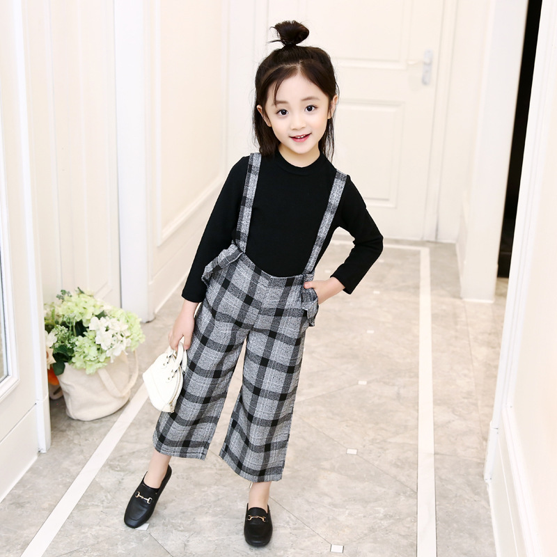 Teenage Clothes For Girls 3 4 5 6 7 8 9 10 11 12 Years 2018 Autumn Long Sleeve Top + Plaid Overalls Pant 2pcs School Costume print overalls jeans for girls 3 4 5 6 7 8 9 10 11 years 2018 new fashion baby girl fall clothes print jumpsuit long denim pant