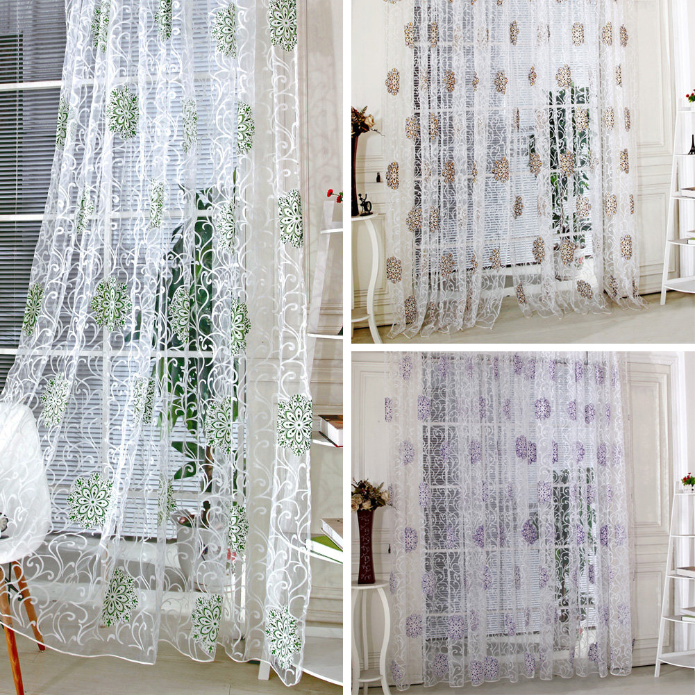low price curtains coffee vintage hydrangea flower pattern tulle voile curtain green for door window curtain purple