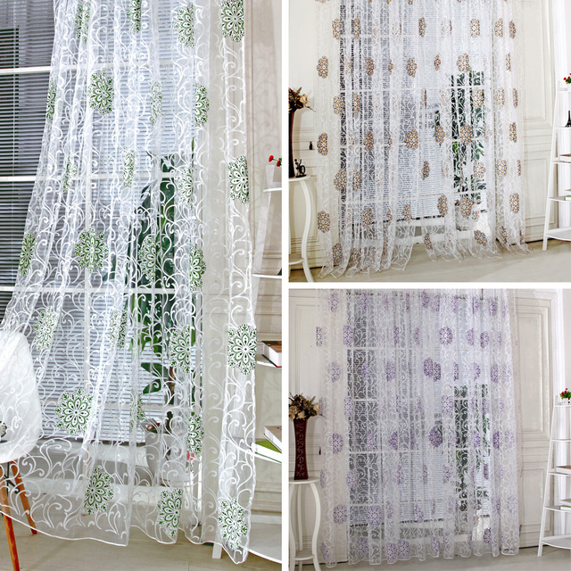 Low Price Curtains Coffee Vintage Hydrangea Flower Pattern Tulle Voile Curtain Green For Door Window
