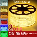 220V 240V SMD 5050 led strip flexible light 5m 10m 15m 20m 100m warm white/white/RGB Power plug 60leds/m waterproof led Strips
