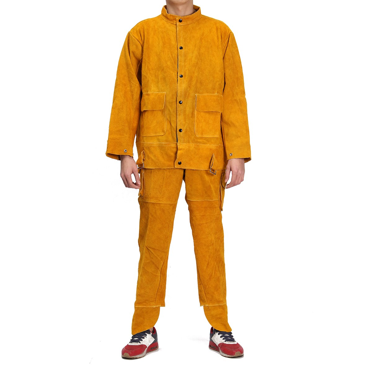 NEW One Set Leather Welding Strap Trousers & Coat Protective Clothing Apparel Suit Welder Safety Clothing welder machine plasma cutter welder mask for welder machine