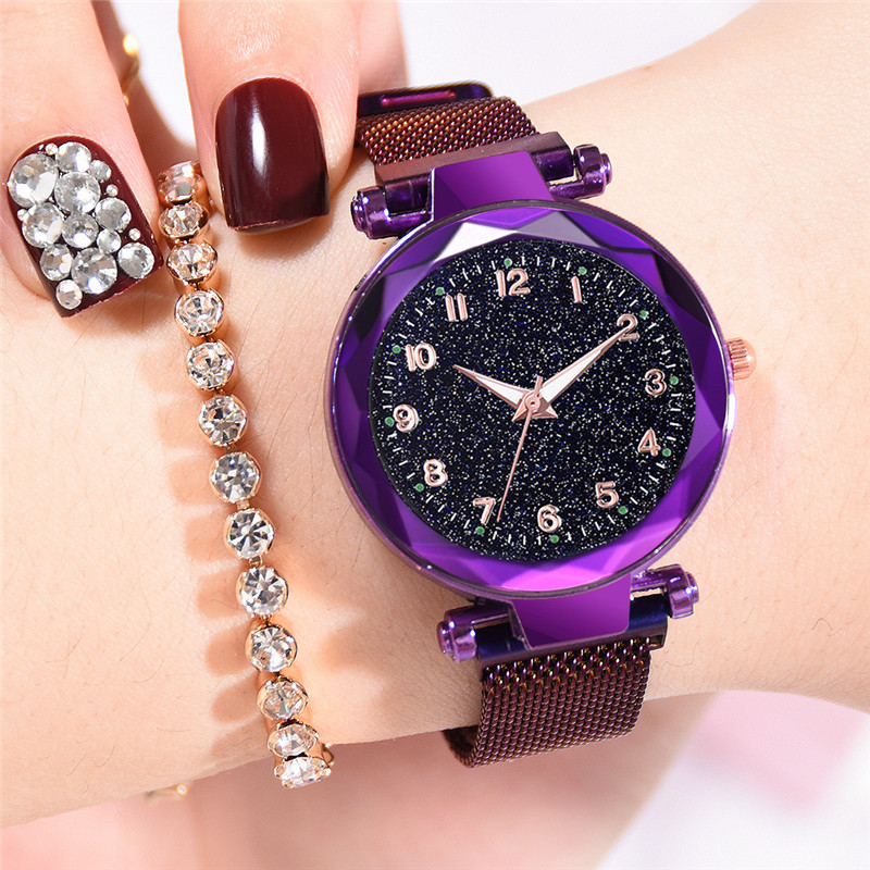 Popular Luminous Hands Women's Watches Fashion Starry Sky Ladies Clock Magnetic Mesh Female Quartz Wristwatches Multicolor Gifts