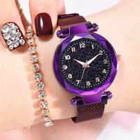Popular Luminous Hands Women's Watches Fashion Starry Sky Ladies Clock Magnetic Mesh Female Quartz Wristwatches Multicolor Gifts