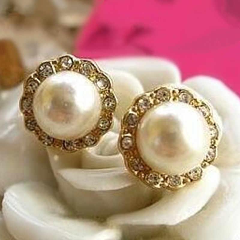 ¡Nuevos pendientes coreanos de imitación de perlas de imitación de cristal! Accesorios para fiesta, joyería de regalo al por mayor para mujeres y niñas