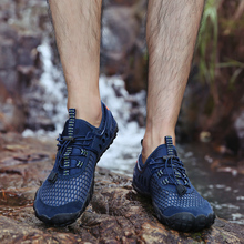 Thestron Man Outdoor Sneakers Big Size 39-47 Mens Wading Shoes Spring Autumn Beach Men Dark Blue Yellow Water Sport