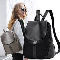 AOEO Backpack Women PU Leather Backpacks Feminine Fashion School Bags For Girls Teenage Mochila Female Leisure