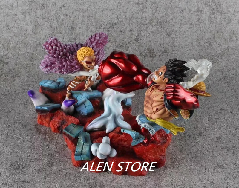 ALEN One Piece Action Figure GK Luffy VS Doflamingo Scene Model Toys Doll Decoration Figurine Classic Collection Kids Toys pop figurine collection toy figure model doll