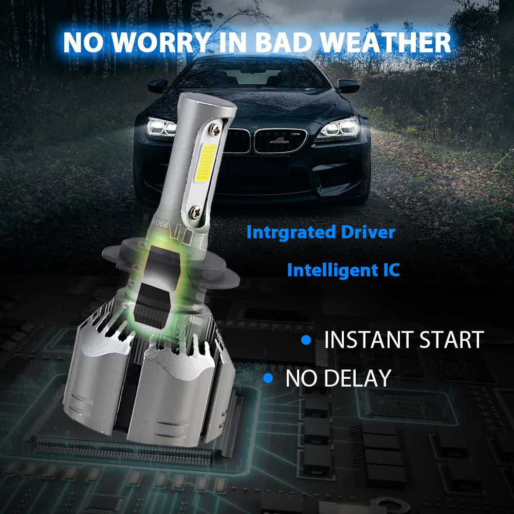 H4 LED H11 H3 8000K 6000K 4300K 3000K H7 9005 9006 Car Headlight Bulb Auto H8 H9 880 H1 Fog Light 60W 2PCS 12v  Led Head lamps
