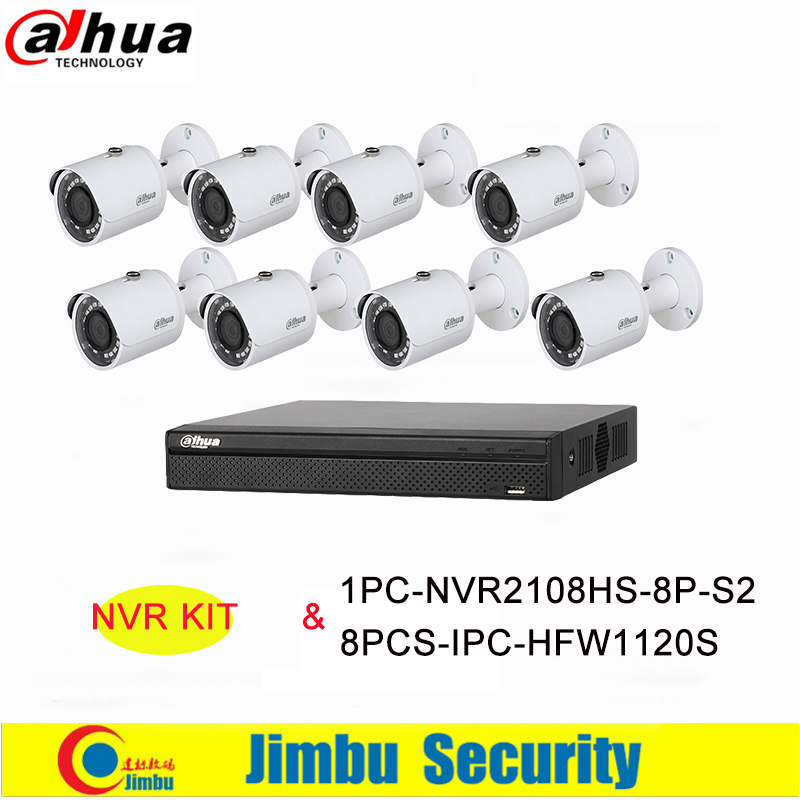 Dahua Original NVR Kit 8Ch 8PoE 1PC-NVR2108HS-8P-S2&8PCS-IPC-HFW1120S H.264+/H.264 Up to 6Mp IP Camera IR 30M