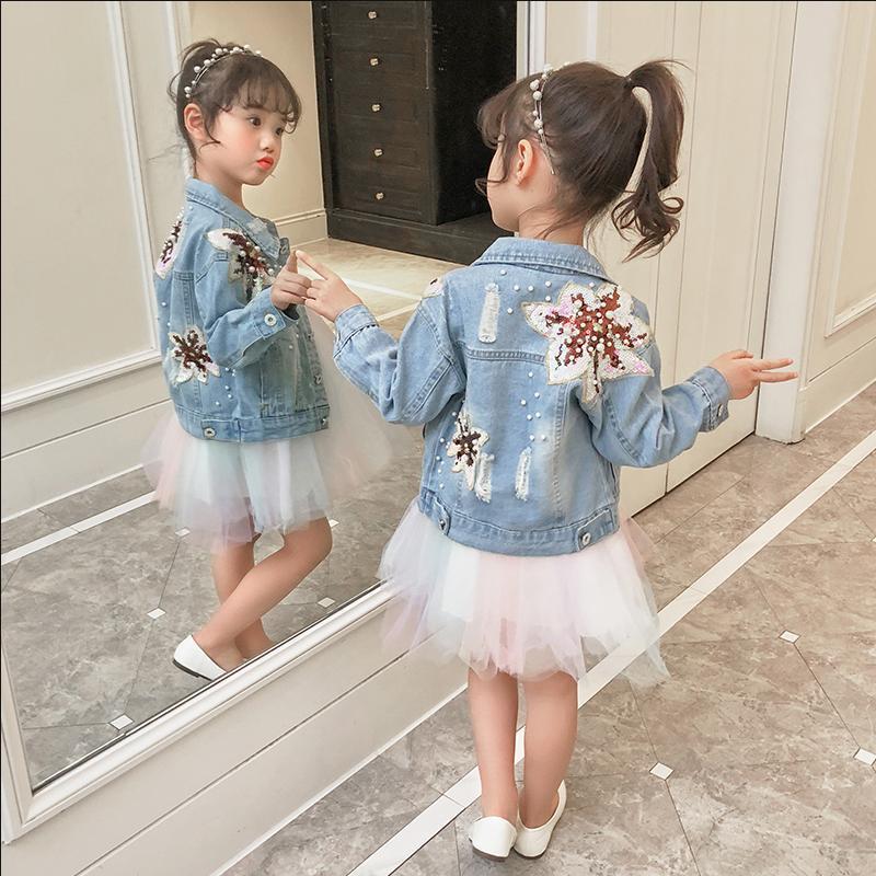 2019 Spring Autumn Girl Denim Jacket Beadings Embroidered Oversize Jeans Jackets Sequins Coat Vintage Kids Clothes Outwear Y1303