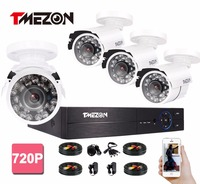 Tmezon 960H 4CH HDMI DVR 800TVL IR Cut Security Bullet Camera CCTV Surveillance System Outdoor Waterproof