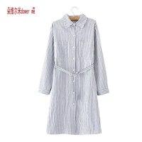 dower me Drop Shipping Plus Size Spring Autumn Vintage Women Shirts Long Sleeve Striped Long Blouse Shirt Blue