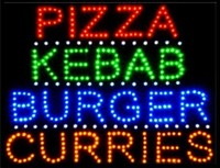 2017 Special Offer Hot Sale custom Graphics 15mm indoor Ultra Bright 19X19 Inch pizza/kebab/burger/curries store sign of led