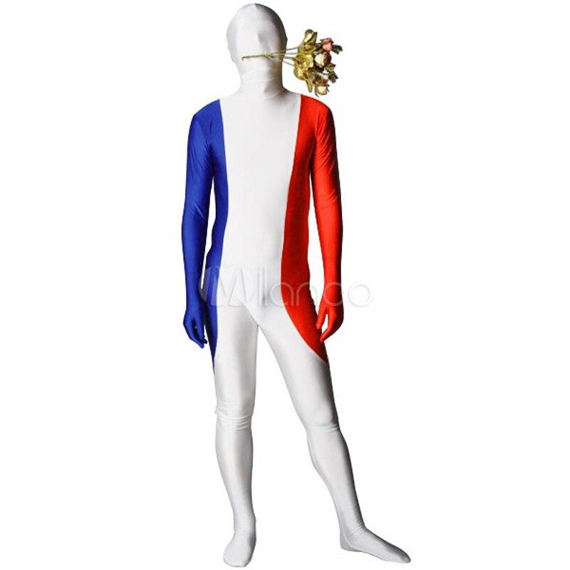 Halloween In Frankrijk.Us 42 98 10 Off Childrens Volwassen Heren Halloween Party Persoonlijkheid Frankrijk Vlag Kostuums Unisex Spandex Zentai Lycra Multicolor Kostuum