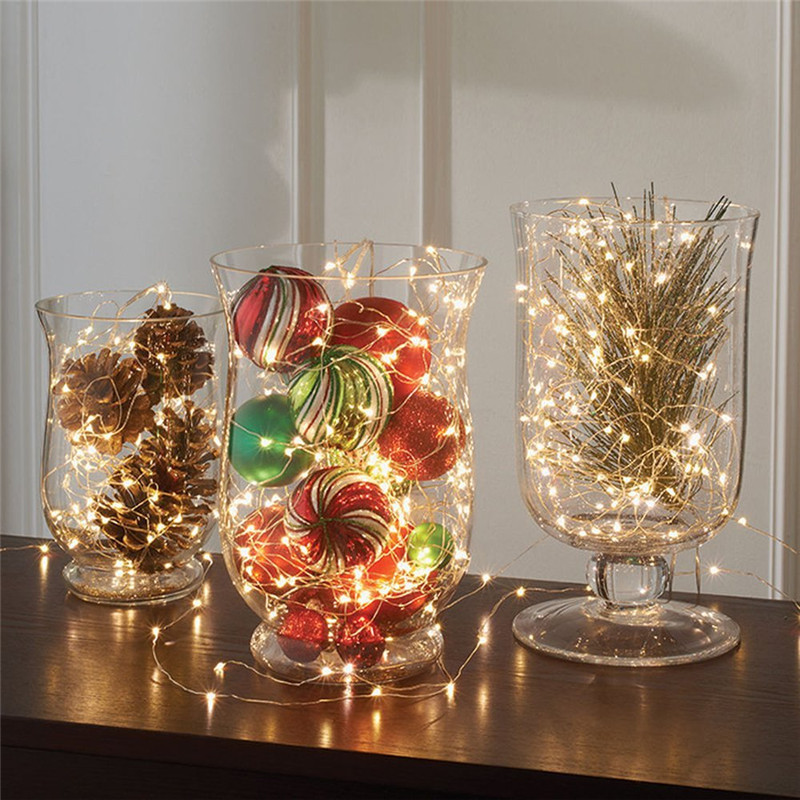 Decoration Anniversaire Party Copper Wire Led String Light Waterproof 2m 5m Lamparas Led Strip For Festival Christmas Wedding
