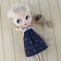 T02 X086 Blyth Doll Clothes 1 6 Dolls Accessories Joint Body Handmade Girl Sleeveless Floral Dress