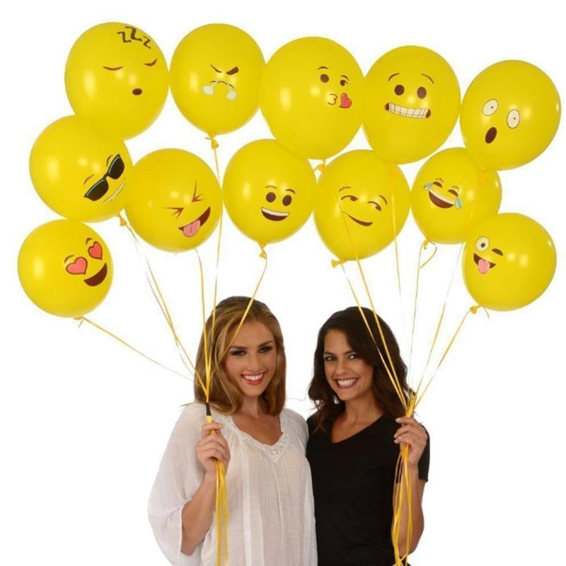 Inflatable Bouncers Jocestyle 10pcs/lot Yellow Smiling Face Expression Emoji Latex Balloons Wedding Party Birthday Home Hotel Decor Props Ideal Gift High Quality Goods