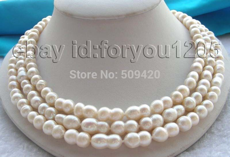 Livraison gratuite 3 linhas naturel 14 mm Twins blanc collier de perles