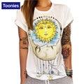 Moda divertido de impresión mujeres de la camiseta de manga corta del o-cuello blanco camisetas de la marca de ocio de verano clothing tops mujer 2017 s-xl
