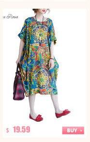 BelineRosa 2017 Big Sizes Women Clothing Bohemian Style Chinese Style Floral Printing Cotton Linen Dress 4XL 5XL HS000264 9