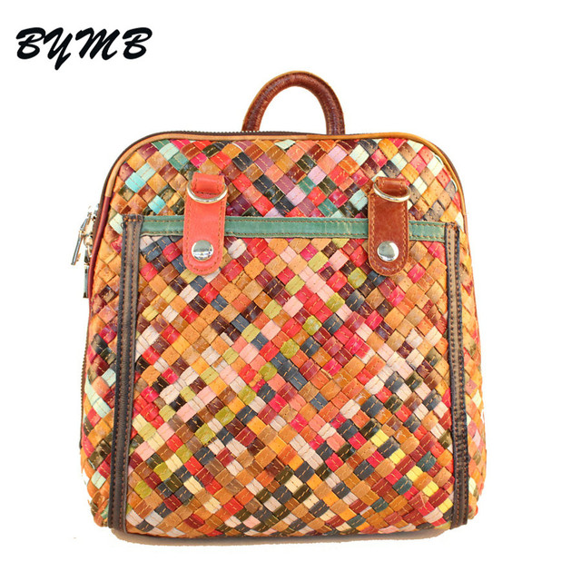 New Woman Top Leather Knitting Backpacks With Magnetic Zipper