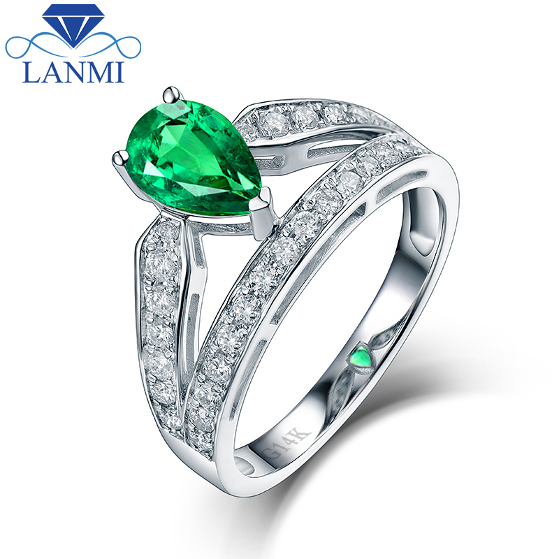 Pretty Design 14K White Gold Natural Colombia Emerald Ring Charming Diamond for Women Wedding Fine Jewelry Wholesale kerui wireless home alarm anti pet immune pir motion sensor infrared detector for gsm pstn wifi alarm system g18 g19 w2