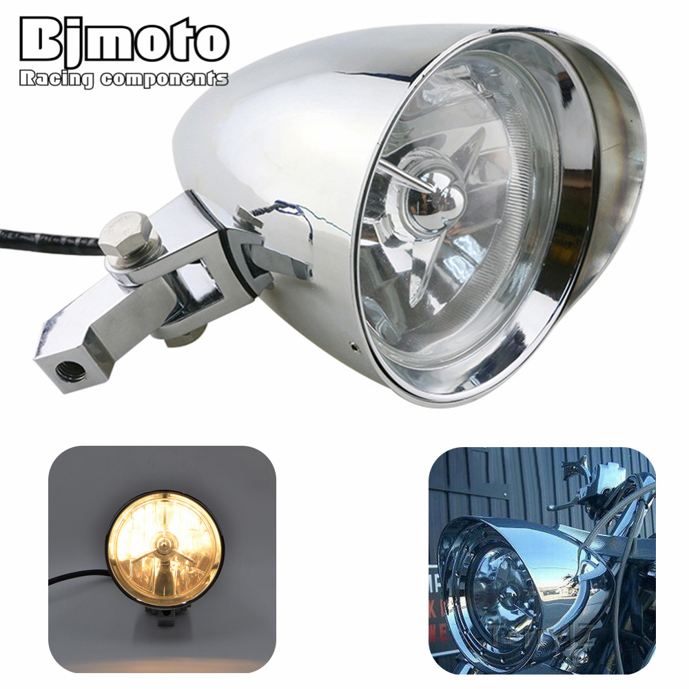 Bjmoto Bullet Motorcycle Headlight Deep Cut Grille head lamp For Harley Davidson DYNA Sportster Touring Softail V-Rod M10 moto