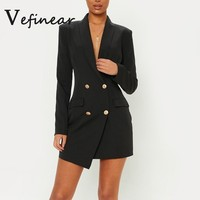 Long Sleeve Solid Blazer Dresses Autumn Winter Black Dress Mini Short Party Dresses Women Vintage Dresses Vestidos